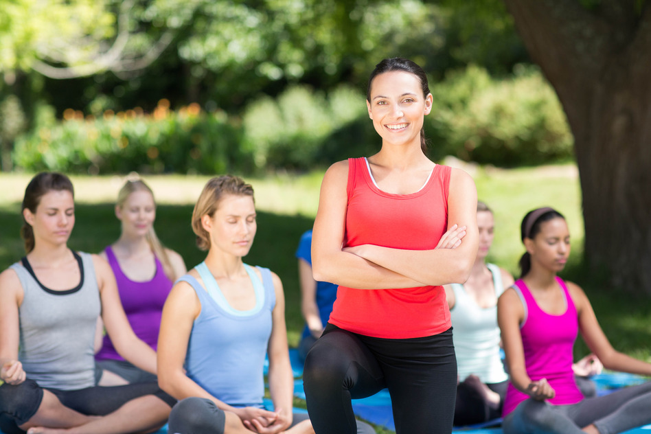 Yoga teacher and class in a blog by Durga Yoga, Maynooth